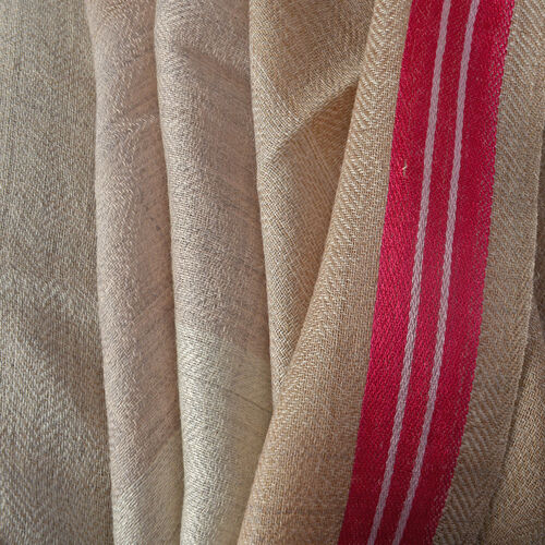 92% Wool and  8% Silk Check Pattern Beige Colour Scarf  (Size 180x70 Cm)