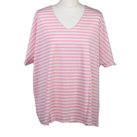 Misumi Super Soft Oversized V-Neck Stripe Short Sleeve Top in Pink (Size up to 18)