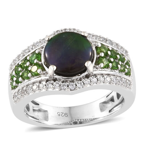 AA Canadian Ammolite (Rnd 8.00 mm), Russian Diopside and Natural White Cambodian Zircon Ring in Plat