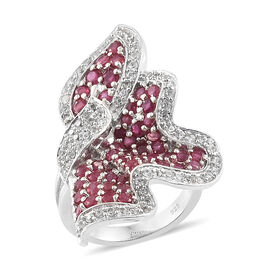 Designer Inspired-African Ruby (Rnd 2.35 Ct), Natural White Cambodian Zircon Wavy Ring in Platinum Overlay Sterling Silver 3.250 Ct, Number of Gemstones - 123.