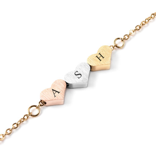 Personalise Engravable Three Initial Heart Bracelet, Size 6.5+1.5 Inch, Stainless Steel