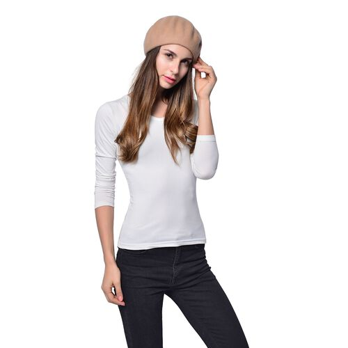 MILANO COLLECTION - 90% Merino Wool Khaki Ladies Beret