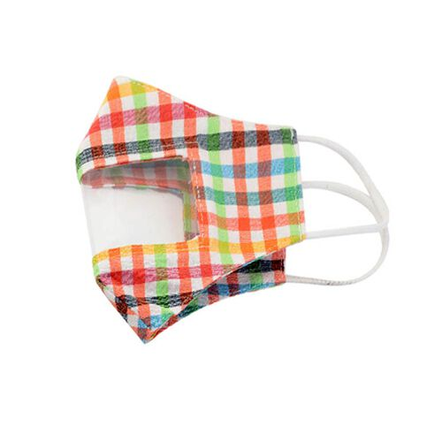 Multi Colour Transparent Face Mask (Size 14x20x29 Cm) - Green Orange and Yellow