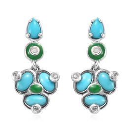 2.07 Ct Arizona Sleeping Beauty Turquoise and Zircon Dangle Earrings in Platinum Plated Silver