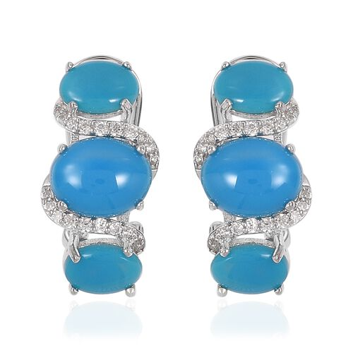 Arizona Sleeping Beauty Turquoise (Ovl), Natural White Cambodian Zircon Earrings (with French Clip)