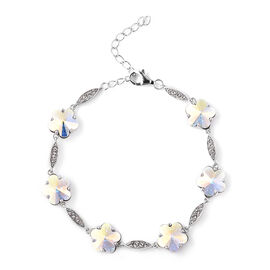 J Francis - Crystal from Swarovski White Crystal (Rnd), Simulated Mystic White Crystal Floral Bracel