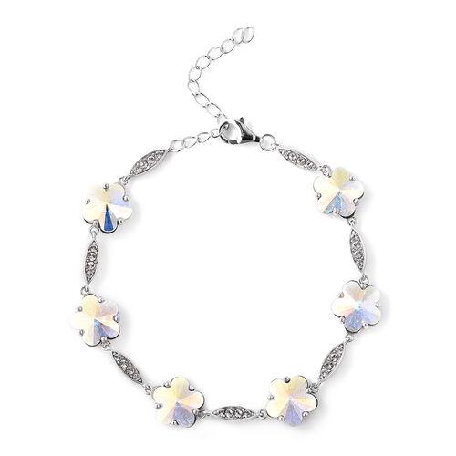 J Francis - Crystal from Swarovski White Crystal (Rnd), Simulated Mystic White Crystal Floral Bracel