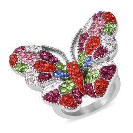 Multi Colour Austrian Crystal (Rnd) Enamelled Butterfly Ring (Size Q) in Stainless Steel