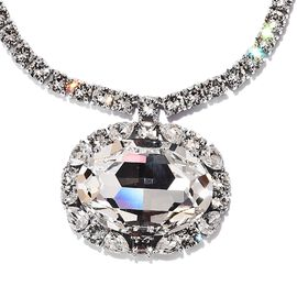 J Francis - Crystal from Swarovski White Colour Crystal (Ovl 30x22 mm) Necklace (Size 18) in Platinu