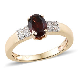9K Yellow Gold AAA Mozambique Garnet (Ovl 1.00 Ct), Natural Cambodian Zircon Ring 1.150 Ct.