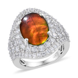 AA Canadian Ammolite (Ovl 3.50 Ct), Natural Cambodian Zircon Ring in Platinum Overlay Sterling Silve