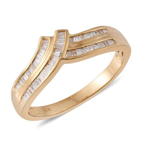 Diamond (Bgt) Ring in 14K Gold Overlay Sterling Silver 0.330 Ct.