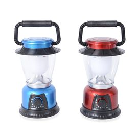 Set of 2 - LED Camping Lamp (Size 15.5x8.7x8.7 Cm) - Red and Blue (Need 3 AA Batteries In Each)