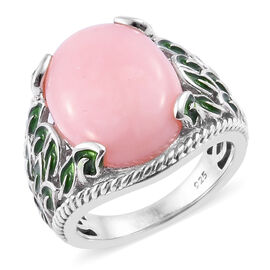 6.5 Ct Pink Opal Solitaire Design Ring in Sterling Silver 6.81 Grams