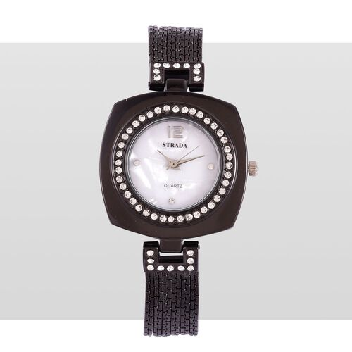 STRADA Japanese Movement White Austrian Crystal Studded White Dial Water Resistant Watch in Black Tone with Stainless Steel Back and Chain Strap