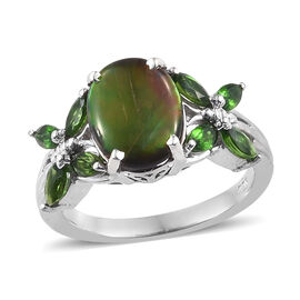 AA Canadian Ammolite (Ovl), Russian Diopside Ring in Platinum Overlay Sterling Silver