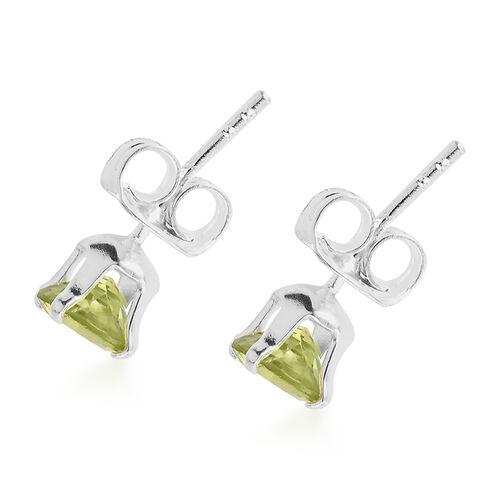 Set of 3 - Hebei Peridot, Mozambique Garnet, Brazilian Smoky Quartz Stud Earrings (with Push Back) in Sterling Silver