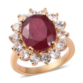 Red Carpet Collection-African Ruby and Natural Cambodian Zircon Ring in 14K Gold Overlay Sterling Si