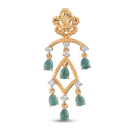 Grandidierite and Natural Cambodian Zircon Pendant in 14K Gold Overlay Sterling Silver