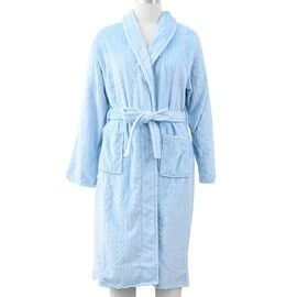 Microfibre Braided Pattern Robe with Shawl Collar and Two Pockets (Size 65x120 Cm) - Sky Blue