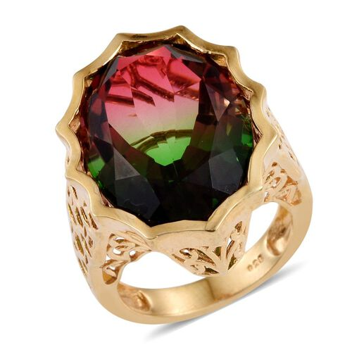 Bi-Color Tourmaline Quartz (Ovl) Ring in 14K Gold Overlay Sterling Silver 18.250 Ct. Silver wt 7.68 Gms.