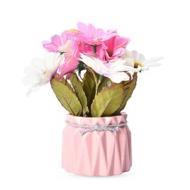 Home Decor - Artificial Real Touch Aden Chrysanthemum Flower with Pink Ceramic Vase (Size 17x8 Cm) -