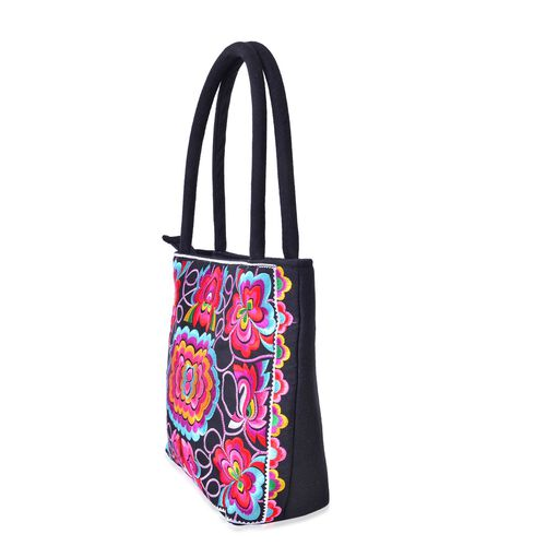 Shanghai Collection Pink, Blue and Multi Colour Lotus Embroidered Large Tote Bag (Size 31X24X23x8 Cm)