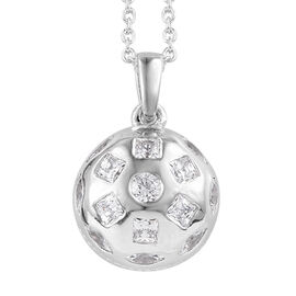 J Francis - Platinum Overlay Sterling Silver (Rnd and Sqr) Pendant With Chain (Size 18)  Made With S