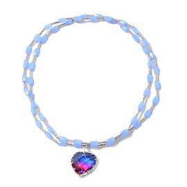 Simulated Blue And Fuchsia Colour Quartz (Hrt), Blue Beads Stretchable Necklace (Size 20)