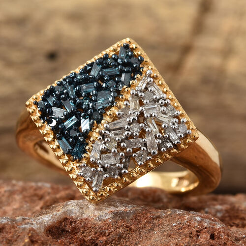 Blue and White Diamond (Bgt) Square Ring in 14K Gold and Blue Overlay Sterling Silver 0.330 Ct.