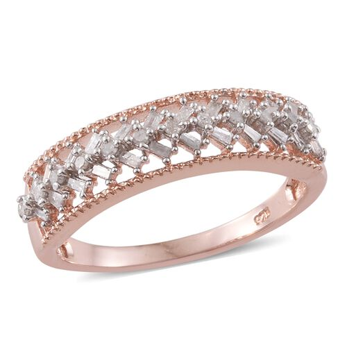 Diamond (Bgt) Ring in Rose Gold Overlay Sterling Silver 0.330 Ct.