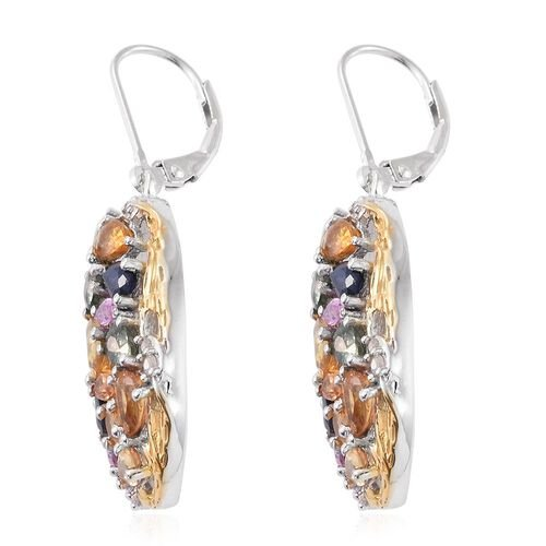 Yellow Sapphire (Pear), Green Sapphire, Orange Sapphire, Kanchanaburi Blue Sapphire and Multi Gem Stone Lever Back Earrings in Platinum and Yellow Gold Overlay Sterling Silver 7.500 Ct.