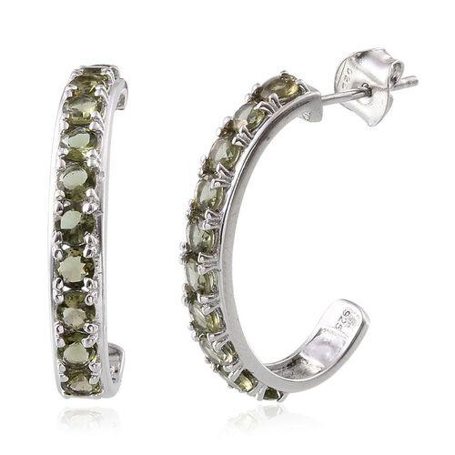 Bohemian Moldavite (Rnd) J Hoop Earrings (with Push Back) in Platinum Overlay Sterling Silver 2.000 Ct.