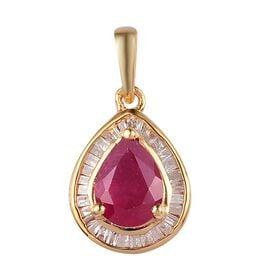 African Ruby and Diamond Pendant in 14K Gold Overlay Sterling Silver 1.75 Ct.