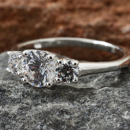 J Francis- Sterling Silver (Rnd) 3 Stone Ring Made with SWAROVSKI ZIRCONIA