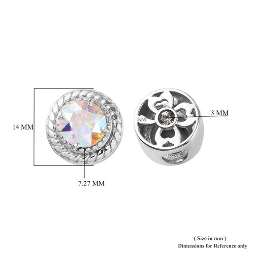 J Francis Crystal from Swarovski AB Crystal and White Colour Crystal Charm in Platinum Overlay Sterling Silver