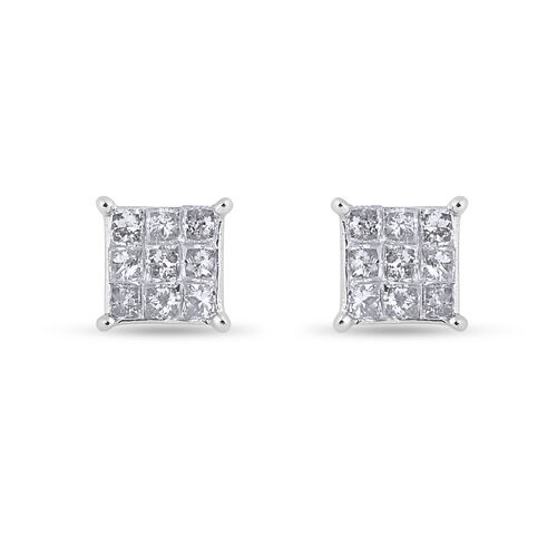 9K White Gold SGL Certified Invisible Set Diamond (I3/G-H) Earrings (with Push Back) 0.50 Ct.