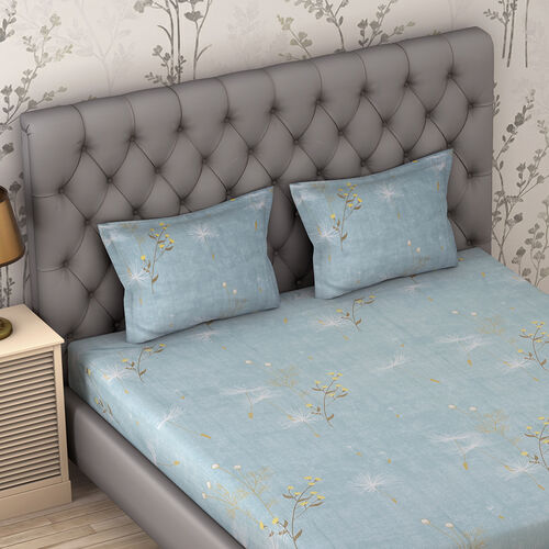 4 Piece Set : Floral Printed Microfibre Sheet Set including Flat Sheet (275x265cm), Fitted Sheet (150x200+30cm) and 2 Pillow Cases (50x75cm) (Size King) - Sky Blue