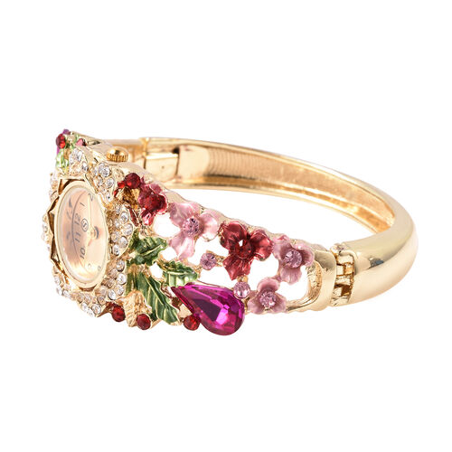STRADA Japanese Movement Simulated Pink Sapphire and Multi Colour Austrian Crystal Floral Garden Theme Bracelet Watch in Gold Tone
