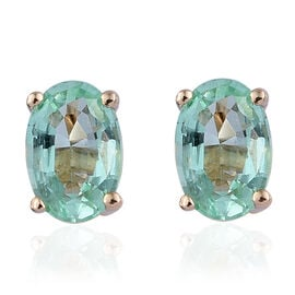 9K Yellow Gold Boyaca Colombian Emerald (Ovl) Stud Earrings (with Push Back) 0.850 Ct.