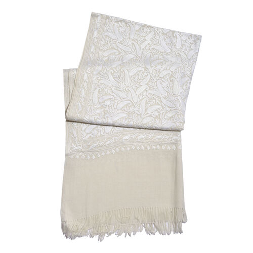 Limited Available - 100% Merino Wool White Paisley and Leaves Embroidered Off White Colour Scarf (Size 190x70 Cm)