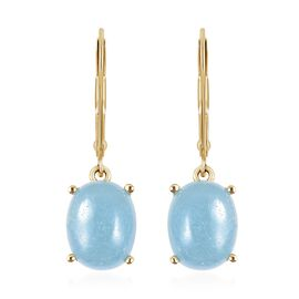 Dyed Blue Jade (5.25 Ct) Sterling Silver Earring  5.250  Ct.