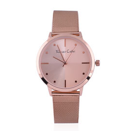 Thomas Calvi Ladies Bracelet Watch with Rose Gold Tone Case and Rose Gold Tone Mesh Style Strap in S