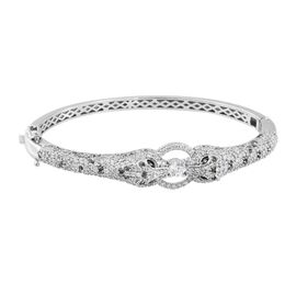 J Francis - Platinum Overlay Sterling Silver (Rnd) Panther Bangle (Size 7.5) Made with SWAROVSKI ZIR