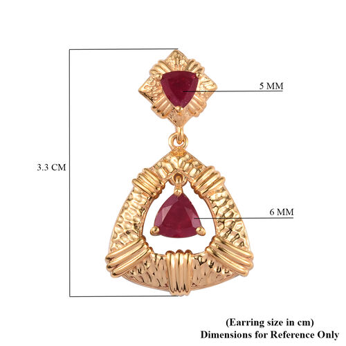 AA African Ruby Earrings (with Push Back) in 14K Gold Overlay Sterling Silver 3.25 Ct, Silver wt 7.00 Gms