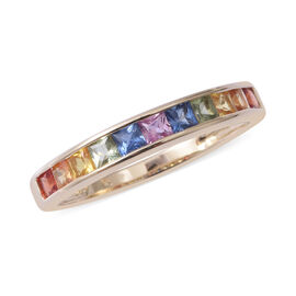 9K Yellow Gold AA Rainbow Sapphire (Sqr) Half Eternity Band Ring 1.250  Ct.