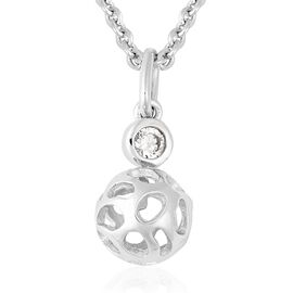 RACHEL GALLEY Simulated Diamond (Rnd) Lattice Globe Pendant With Chain (Size 30) in Rhodium Overlay