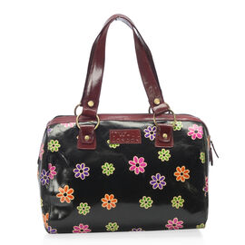 Summer Collection 100% Genuine Leather Black and Multi Colour Floral Pattern Handbag (Size 28.57x31.