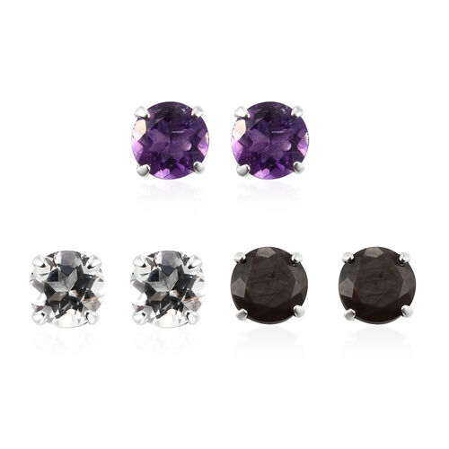 Set of 3 - Silver Sapphire, White Topaz and Amethyst Stud Earrings (with Push Back) in Sterling Silv