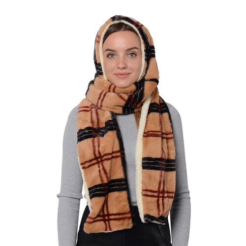 Plaid Hooded Scarf (Size 17x200cm) - Brown, Black and Red Colour